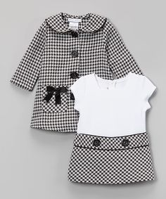 Loving this Gerson & Gerson Black Houndstooth Bow Peacoat & Dress - Infant, Toddler & Girls on Little Girl Outfits, Little Girl Fashion, Baby Outfits, Fashion Kids, Toddler Fashion, Fashion Sale, Fashion Fashion, Toddler Girl Dresses, Toddler Outfits