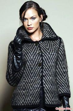 Короткое стильное пальто - ВЯЗАНАЯ МОДА+ ДЛЯ НЕМОДЕЛЬНЫХ ДАМ - Страна Мам