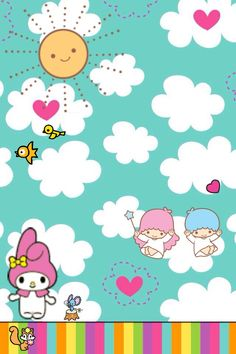 My melody / twin stars My Melody Wallpaper, Friends Wallpaper, Iphone Wallpaper, Little Twin Stars, Little Star, Semicolon Heart Tattoo, Hello Kitty Coloring, Hello Kitty My Melody, Kawaii Stationery