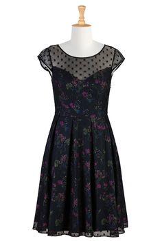 Mesh Overlayer Print Dresses, Fall Floral Print Dresses Womens fashion clothing | Women's stylish dress | Evening dresses, cocktail dresses, day-to-evening dresses | | eShakti.com