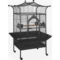 The Small Royalty Bird Cage has a unique and appealing pagoda top design. The unique 2-in-1 front door opens down as a landing-style door or swings out for full access to the entire cage. Features: -