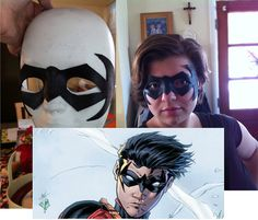Hand made comic book superhero mask; Red Robin hand crafted Mask Black by LynGLgeekchic on Etsy, $20.00