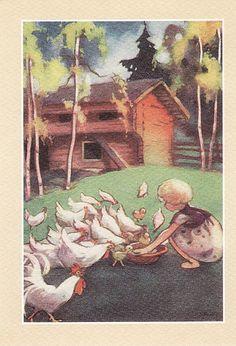 The Art of Martta Wendelin - from… Children's Book Illustration, Book Illustrations, Inspiration Art, Chicken Art, Cottage Art, Art Pictures, Vintage Pictures, Childrens Books, Book Art