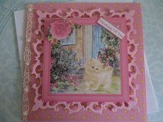 Kitten at the back door with flowers~ Happy birthday greeting Handmade card 3D