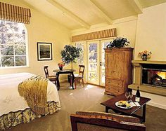 Comfortable cottage rooms at the Bernardus Lodge in Carmel Valley, CA. Where we stayed the night of our wedding :)