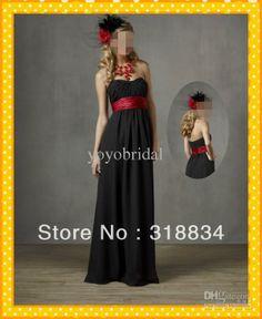 black bridesmaid dresses with colored sash | Buy black bridesmaid dresses red sash- Source black bridesmaid dresses ...