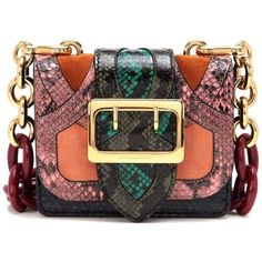 The Buckle snakeskin and velvet shoulder bag ($2,120) ❤ liked on Polyvore featuring bags, handbags and shoulder bags