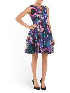 TAYLOR Fit And Flare Printed Dress