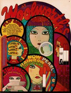 Vintage ad for Baby Doll cosmetics Woolworths Retro Advertising, Vintage Advertisements, Vintage Ads, Vintage Labels, Graphic Illustration, Graphic Art, Graphic Design, Mundo Hippie, Vintage Magazine