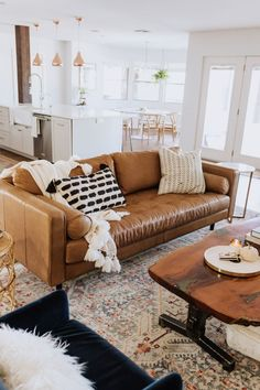 ldl home: our living room reveal loving this gorgeous tan leather sofa in our new living room! Living Room Decor Brown Couch, New Living Room, Living Room Interior, Brown Leather Couch Living Room, Brown Sofa, Small Living, Tan Couch Decor, Apartment Living Rooms, Tan Couches
