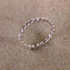 Twisted Rope Sterling Silver Band Stacking Ring Shiny Finish by EllynBlueJewelry on Etsy