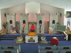 Here is the castle my husband and I made for our Kingdom Rock VBS theme