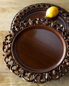 Just when you thought your dinner table couldn't get any more gorgeous...Wooden charger plates at Horchow. #HORCHOW
