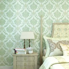 Green Classic Damask Textured Embossed Background Nonwoven Wallpaper Double Roll Pullman http://www.amazon.com/dp/B00XC50B0E/ref=cm_sw_r_pi_dp_yWdJwb0M1V7CW