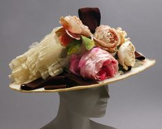 Hat Made Of Felt Trimmed With Lace And Pink Roses - American   c.1910   -   The Philadelphia Museum of Art