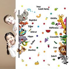 Amaonm® Removable Cute Cartoon Animals Giraffes tigers elephants & Lettering Wall Decal Early childhood Learing Education Wall…