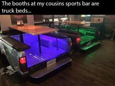 Truck bed tables with LED lights. Cool  resturant / bar idea for sure.