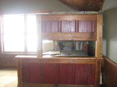 Cowboy Craftsman Double Bunk Bed From Reclaimed Pine Barn Lumber