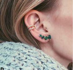 Multiple Ear Piercings: 30 Combinations to Copy   diamond earcuffs + emarald jewels   StyleCaster