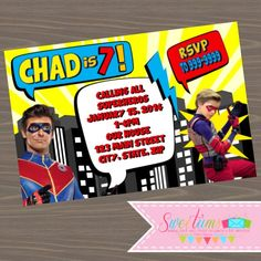Henry Danger Party invitations