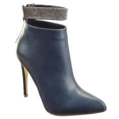 Sopily - Chaussure Mode Bottine Stiletto Low boots Cheville femmes strass  diamant Talon haut aiguille 11 f31c25e3d487