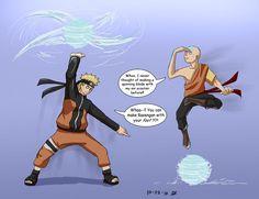 Naruto meets Aang by Dingostride on DeviantArt Hinata, Sasuke Sakura Sarada, Naruto Shippuden Sasuke, Naruto Art, Boruto, Avatar The Last Airbender Funny, Avatar Funny, Funny Naruto Memes, Avatar Airbender