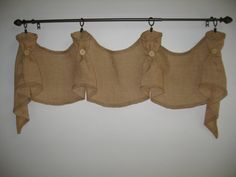 The Hayfield Primitive Burlap Window Valance by HighFarmPrimitive, $85.00