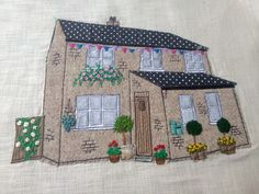 Machine Embroidery Homebroideries - handmade textile portrait of your house. These are hand and machine embroidered. Working from your photo your personalised portrait is created. They make a lovely housewarming gift or keepsake. Freehand Machine Embroidery, Free Motion Embroidery, Machine Embroidery Applique, Applique Quilts, Embroidery Art, Ribbon Embroidery, House Quilt Patterns, House Quilts, Fabric Houses
