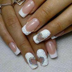 New nail arts desgin Gorgeous Nails, Pretty Nails, Gel Nail Art, Acrylic Nails, Nails Decoradas, Bride Nails, Wedding Nails, Lace Nails, Beautiful Nail Designs
