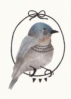 emma wiesenekker, blue bird illustration