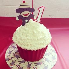Sock monkey smash cake