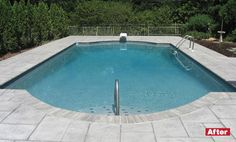New slate pattern concrete decking gives this pool a modern look http://www.poolspaoutdoor.com/pools/inground-pools/articles/pool-renovations-before-after.aspx