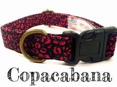 Black Dog Collar  Pink Floral Dog Collar  Tropical by veryvintage