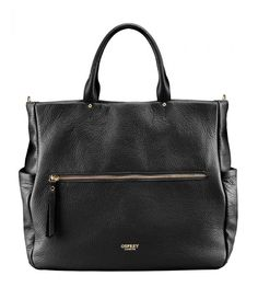 OSPREY LONDON The Andorra Black Leather Work Tote.