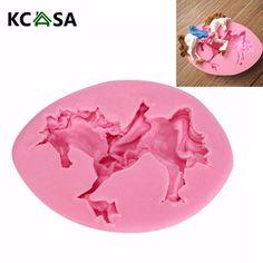 KCASA Carousel Unicorn Horse Fondant Mold Silicone Mould Cake Decorating Tool