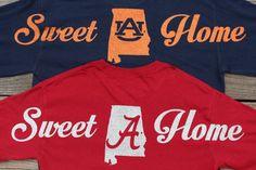 Sweet Home Auburn War Eagle or Alabama by LizaJanesCustomGifts Glitter Shirt, Glitter Vinyl, Auburn Shirts, Silhouette Machine, Roll Tide, Vinyl Projects, Silhouette Projects, Alabama, Sweet Home
