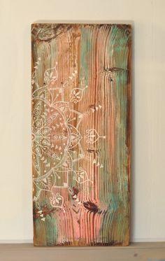 "Eva Lubart - artist painter & graphic designer- peinture sur vieux bois Mandala ""JAIPUR"" - painting on old wood - indian mandala https://www.alittlemarket.com/decorations-murales/fr_eva_lubart_tableau_vieux_bois_jaipur_-18926510.html"