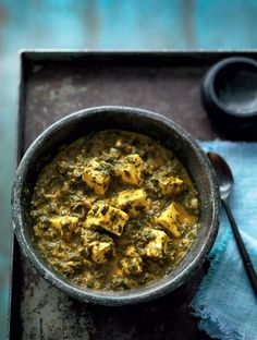 Spinach with Fresh Indian Cheese (Saag Paneer) - The Happy Foodie