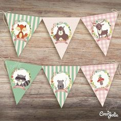 Kit Animalitos del Bosque Nena. Imprimible Personalizable en internet Woodland Theme, Woodland Party, Woodland Creatures, Woodland Animals, Diy Party Decorations, Party Themes, Regalo Baby Shower, Diy And Crafts, Arts And Crafts