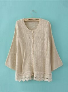 Beige Bat Long Sleeve Sweater with Lace $42.00