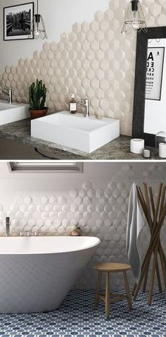 Bathroom Tile Ideas - Install 3D Tiles To Add Texture To Your Bathroom // Hexagonal tiles with a bit of texture added to them and arranged on only parts of the walls lets you add depth to your walls in a stylish way that doesn't feel overwhelming.