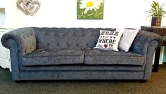 Ex Display - Beautiful Chesterfield 3 Seater Sofa In Grey Chenille just £599 From the interior outlet