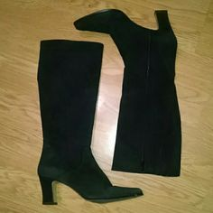 Bandolino suede leather calf length boots Beautiful suede boots in excellent condition. Has inner leg zipper with elastic v inset for extra give at calf. These are NOT a wide calf. They measure 14 inches at their widest. Heel measures 3 inches. Bandolino Shoes Heeled Boots