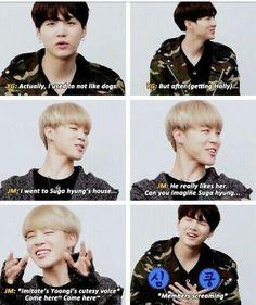 Jimin has always liked Jungkook, but Jungkook likes Taehyung. Jungkook finds out Jimin likes him, so he bully's him for no reason. Yoonmin, V Taehyung, Namjoon, Kookie Bts, Bts Bangtan Boy, K Pop, Bts Memes Hilarious, Funny, Jikook