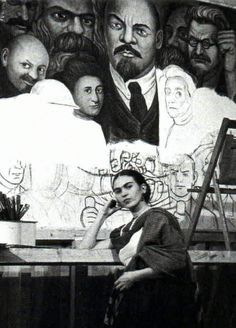 Frida in front a Diego Rivera's mural