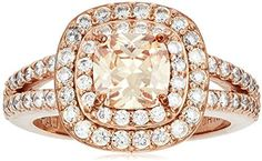 Amazon Collection 14k Rose Gold Plated Sterling Silver Champagne Cubic Zirconia Cushion Cut 6mm Double Halo Ring Solid Gold, White Gold, White Opal, Double Halo Rings, Alternative Engagement Rings, Rose Gold Engagement Ring, Solitaire Engagement, Rose Gold Plates, Beautiful Rings
