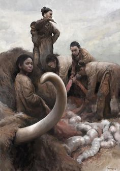 A tribe of Ice Age Eurasians butchering the carcass of a Woolly Mammoth by Tom Björklund Prehistoric Age, Prehistoric Creatures, Extinct Animals, Ice Age, Wildlife Art, Ancient History, Archaeology, Character Inspiration, Japanese Language