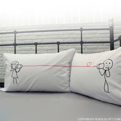 """Whether you are together or a distance apart, these pillowcases are perfect for reminding you both to say I love you each and every night and each and every day. Perfect Christmas gifts for boyfriend or husband. BoldLoft """"Say I Love You Too"""" His and Hers Couple Pillowcases. #hisandhers #christmasgiftsforboyfriend"""