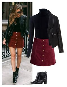 A fashion look from November 2016 featuring turtle neck sweater, plus size leather jacket and a-line skirts. Browse and shop related looks. Burgundy Skirt Outfit, Winter Skirt Outfit, Casual Winter Outfits, Winter Fashion Outfits, Look Fashion, Women's Fashion Dresses, Chic Outfits, Fall Outfits, Black Leather Jacket Outfit