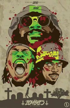 I have chosen this image because I am a big Flatbush Zombie fan and I love the colours used in the image. The green and yellow gives the image a psychedelic feel to it and the blood even shows a bit of danger.